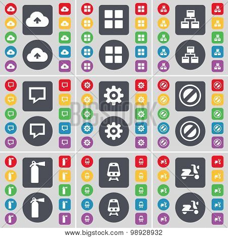 Cloud, Apps, Network, Chat Bubble, Gear, Stop, Fire Extinguisher, Train, Scooter Icon Symbol. A Larg