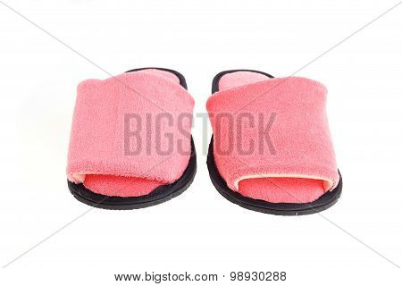 Pink Slippers Footwear Isolated On White Background
