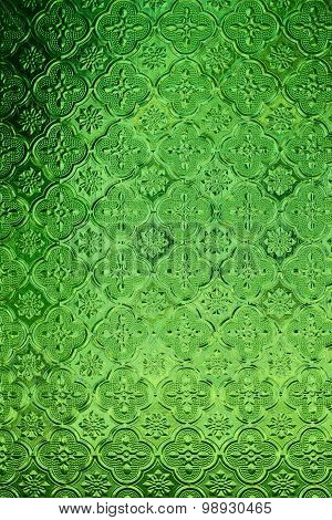 Glass Traditional Thai Style Texture Decorated On The Window