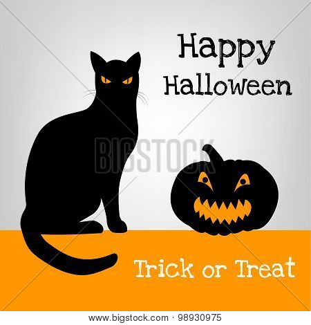 Halloween card with black cat