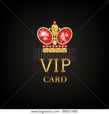 VIP card with ruby king crown