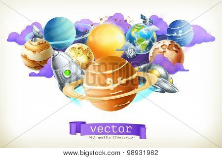 Universe, vector illustration isolated on white