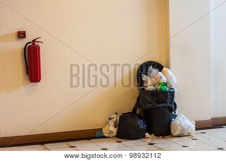 Plastic Trashcan In Building