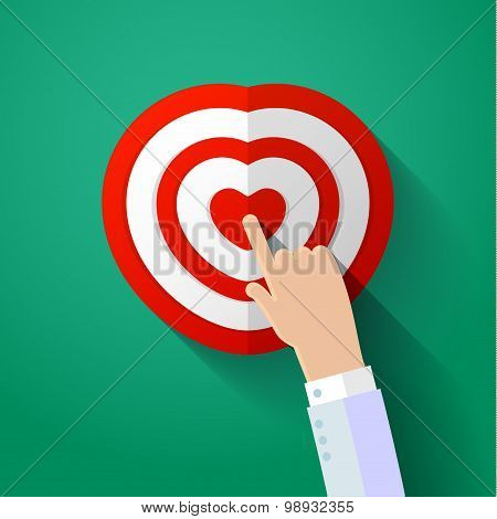 Icon of human heart with hand