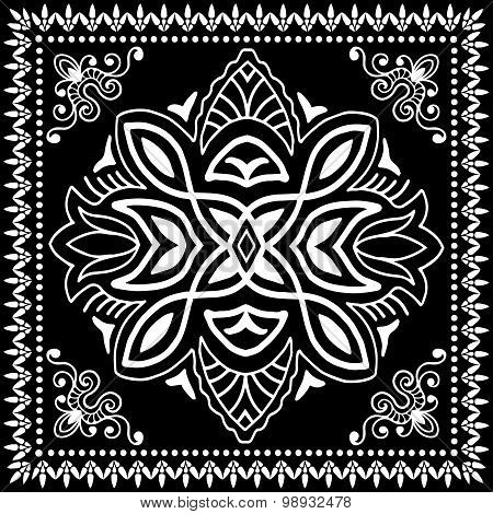 Black Bandana Print, silk neck scarf or kerchief square pattern design style for print on fabric, ve