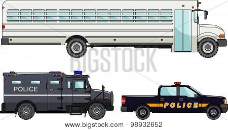 Set of different police cars and prison bus on white background in flat style. Vector illustration.