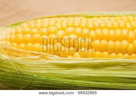 Ripe Corn On The Cob With Water Drops On Grains