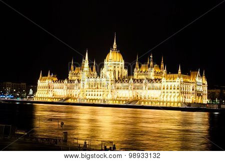 The Hungarian Parliament Building with bright and beautiful illu