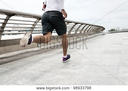 Running along the bridge
