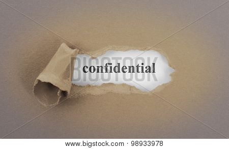 Text Appearing Behind Torn Brown Envelop