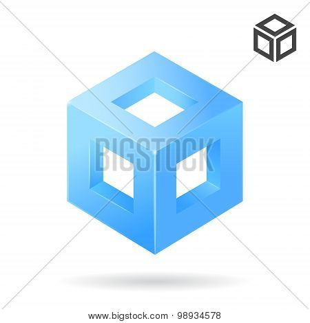 Isometric Cube Logo With Holes