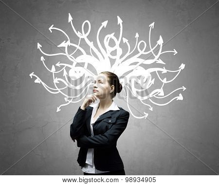 Thoughtful businesswoman with arrows and thoughts coming out of her head