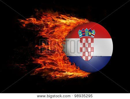 Flag With A Trail Of Fire - Croatia