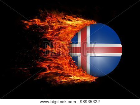 Flag With A Trail Of Fire - Iceland