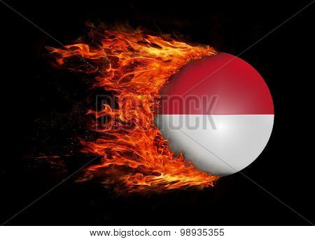 Flag With A Trail Of Fire - Indonesia