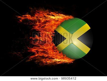 Flag With A Trail Of Fire - Jamaica