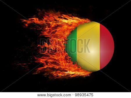 Flag With A Trail Of Fire - Mali