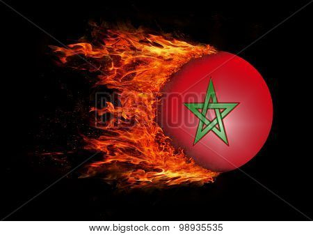 Flag With A Trail Of Fire - Morocco