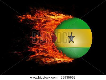 Flag With A Trail Of Fire - Sao Tome And  Principe
