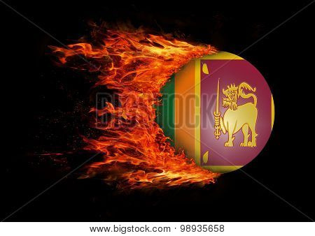 Flag With A Trail Of Fire - Sri Lanka