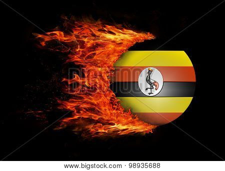 Flag With A Trail Of Fire - Uganda