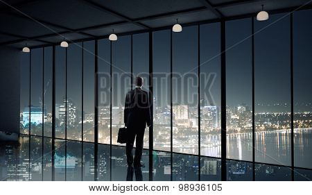 Businessman standing with back and looking in office window