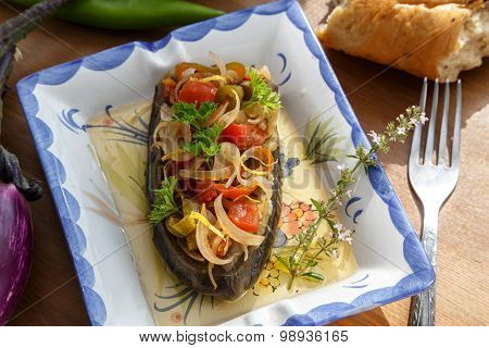 Turkish dish Imam bayildi on white plate