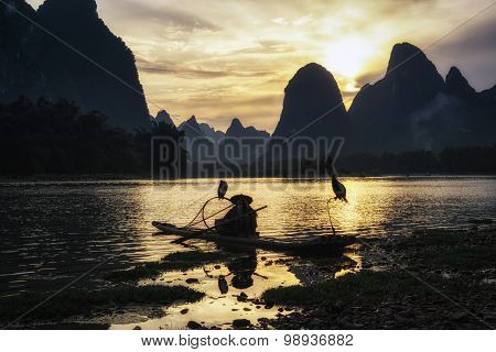The Cormant Fisherman In Li River