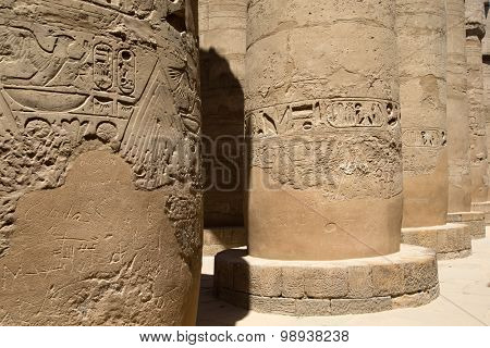Close up of columns covered in hieroglyphics, Karnak, Egypt.