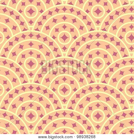 Cirlce With Ruby Shape Vector Seamless Pattern. You can find ful