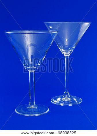 Two Empty Martini Glasses