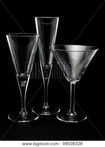Three Empty Cocktail Glasses