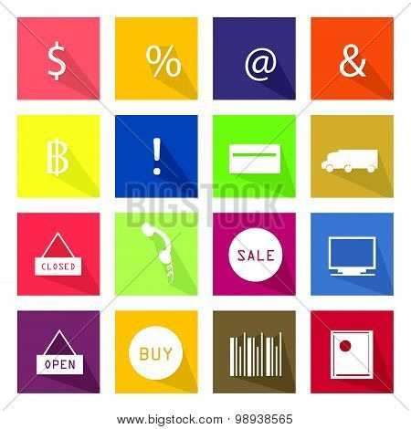 Collection of 16 Business Item Icons Banner