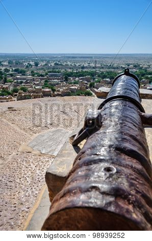Old Cannon Of Golden Fort Of Jaisalmer, Rajasthan India