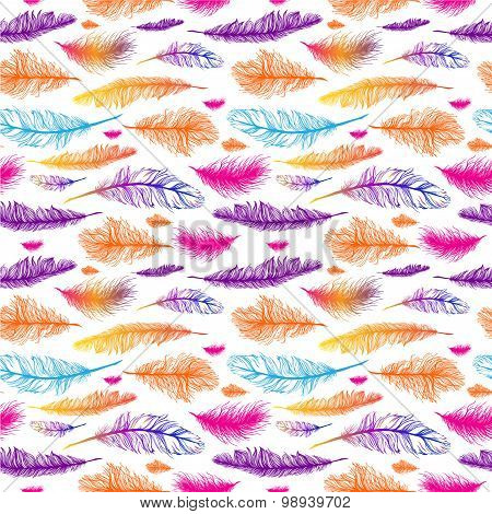Set of seamless pattern vector feathers.