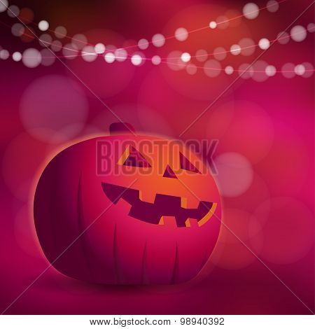 Halloween Or Dios De Los Muertos Greeting Card, Invitation With Freaky Pumpkin And Lights, Vector