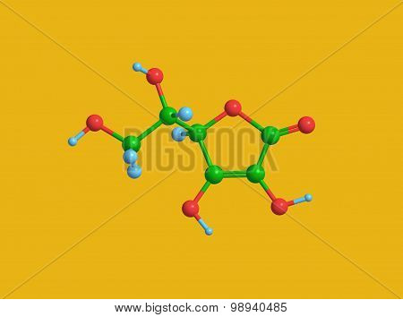 Molecular structure of ascorbic acid (vitamin C)
