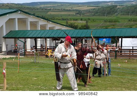 Vatra, Moldova. June 28, 2015. Medieval Festival. Historical Restoration Archery Competition