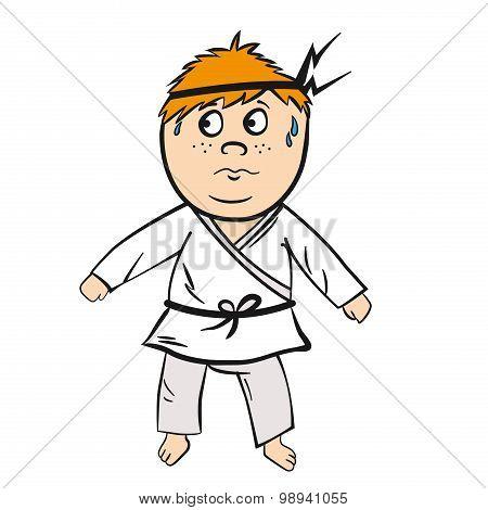 Karate cartoon kid red head with black belt