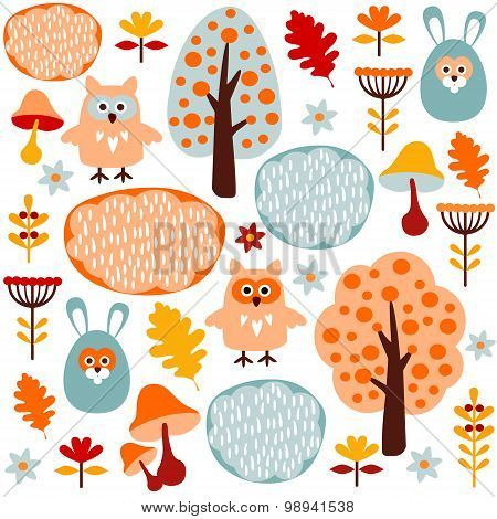 Seamless Fall Forest Vector Pattern With Animals Hare, Owl