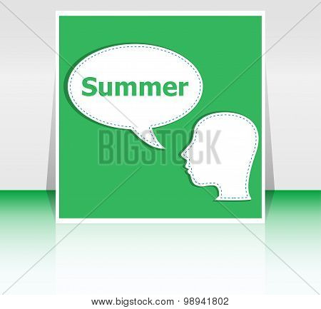 People Think About Summer, Man And Speech Bubbles, Summer Holiday Card