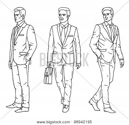 Set Of Sketch Businessmen