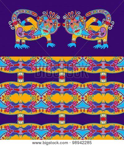folk ethnic animal - monkey with seamless geometry vintage patte