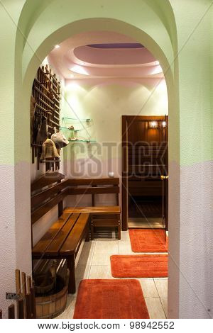 Interior in sauna room