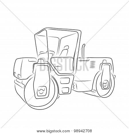 Original road roller, vector illustration