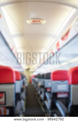 Defocus Interior Of The Passenger Airplane