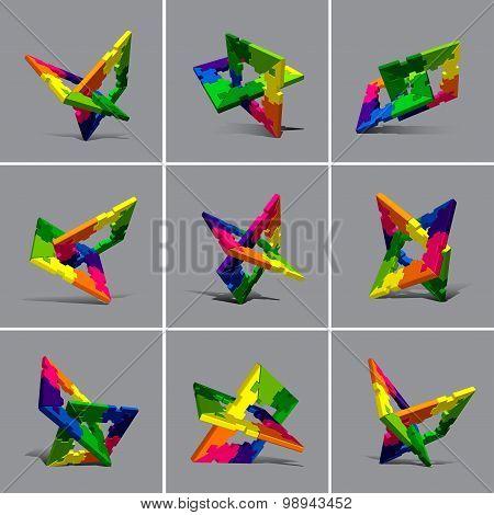 Puzzle Vector Element Set