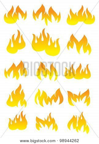 Fire And Flame Vector Icon Set