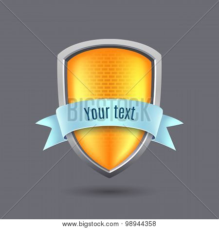 Yellow Glossy Metal Shield On Gray Background