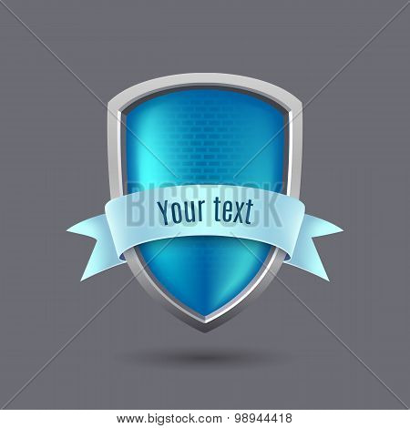 Blue Glossy Metal Shield On Gray Background